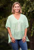 Millie Top in Green Abstract Dots