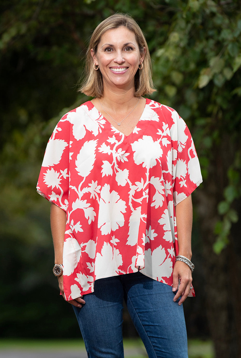 Image of Millie Top in Amelia Floral on Red