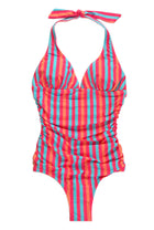 One-Piece Halter Suit in Multi Stripe