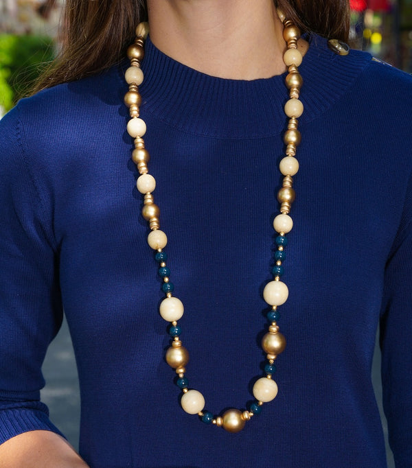 Navy & Gold Wood Necklace