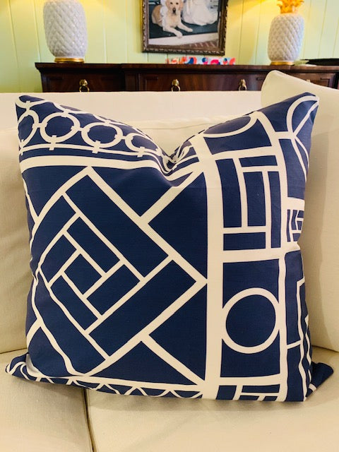 Throw Pillow-Navy Trellis COVER ONLY