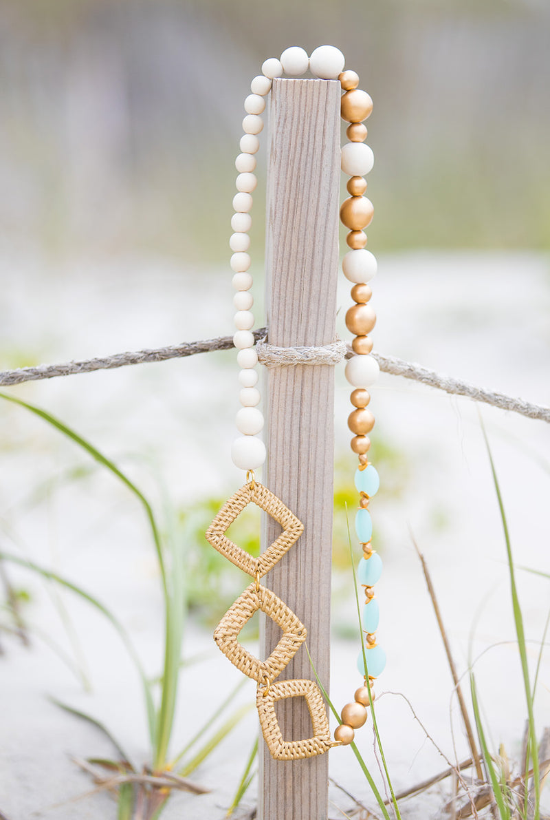 Rattan Diamond and Aqua Beaded Necklace