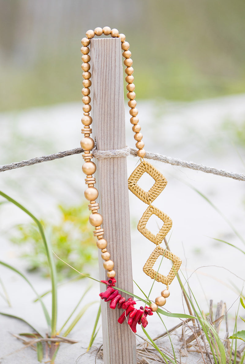 Rattan Diamond and Coral Necklace