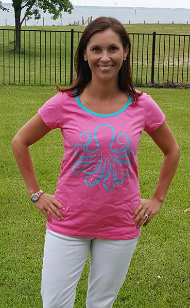 Amelia Tee in Hot Pink Octopus