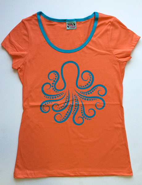 Amelia Tee in Orange Octopus