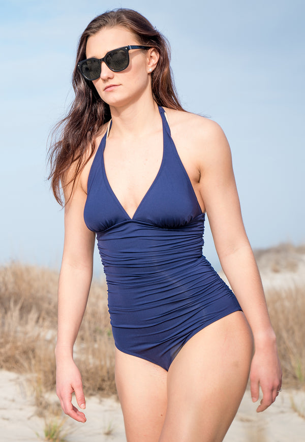 One-Piece Halter Suit in Navy Solid