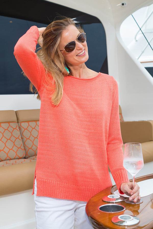 Open Weave Sweater in Coral
