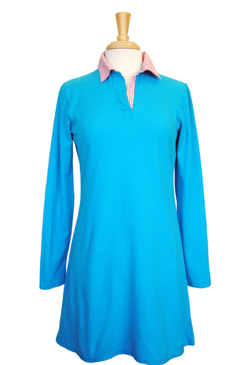 Polo Dress in Turquoise with Pink Stripe