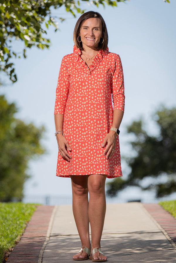 Parker Dress in Coral Cheetah
