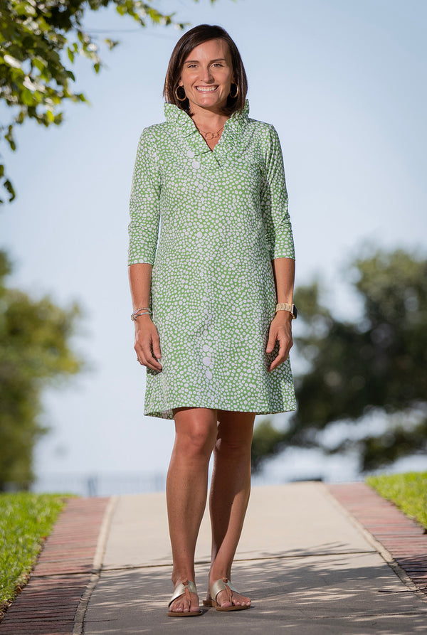 Parker Dress in Green Abstract Dots