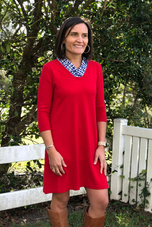 Parker Sweater Dress in Poppy Red with Blue Gingham