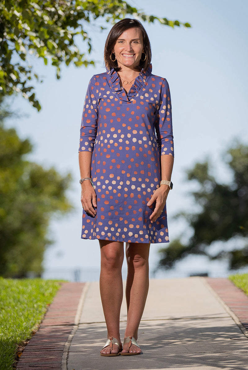 Parker Dress in Rose Gold Dots on Navy