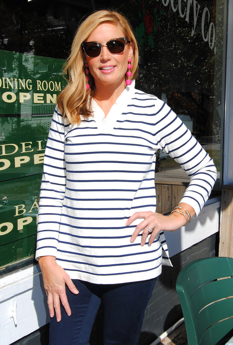 Parker Sweater in White with Navy Stripes