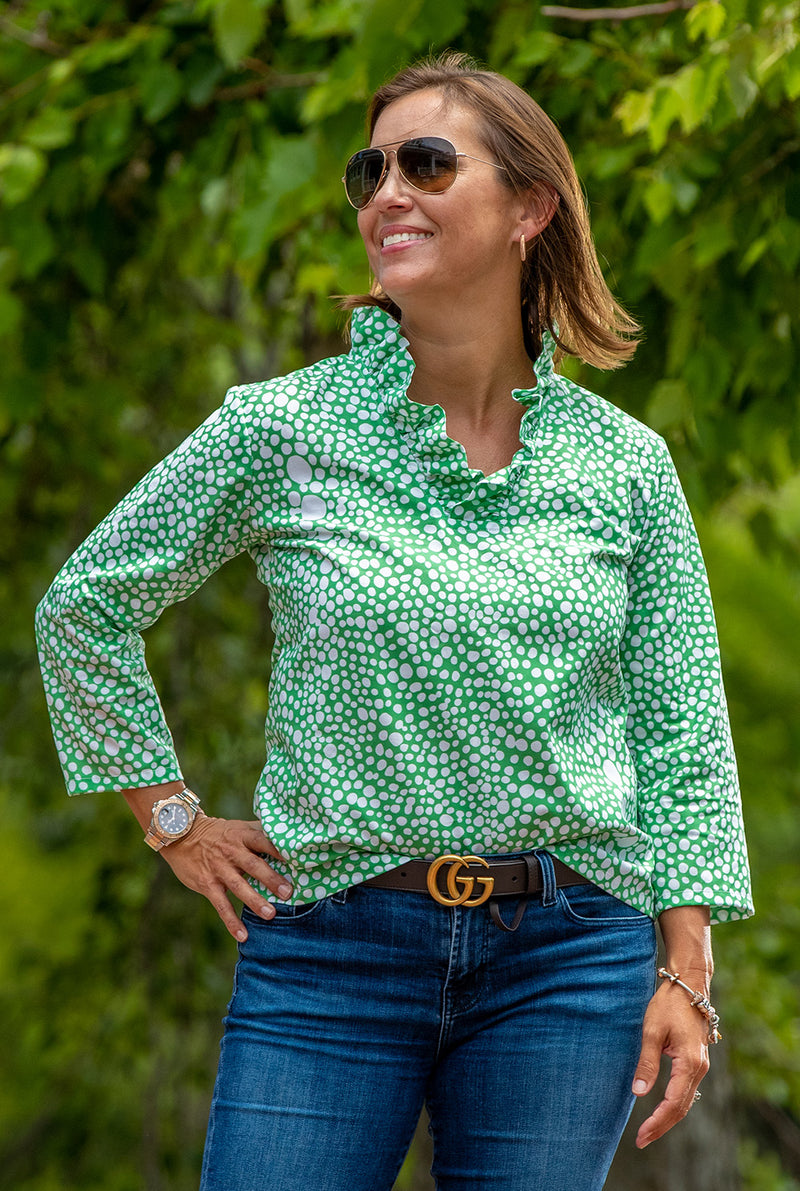 Parker Top in Green and White Abstract Dots