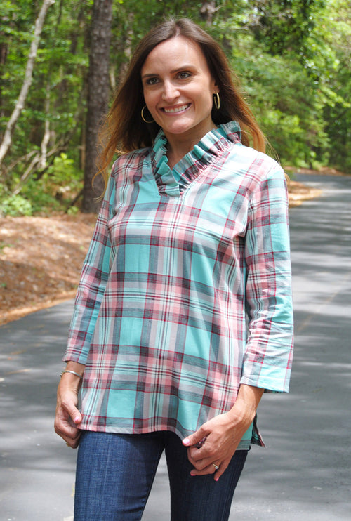 Parker Tunic in Mint Plaid