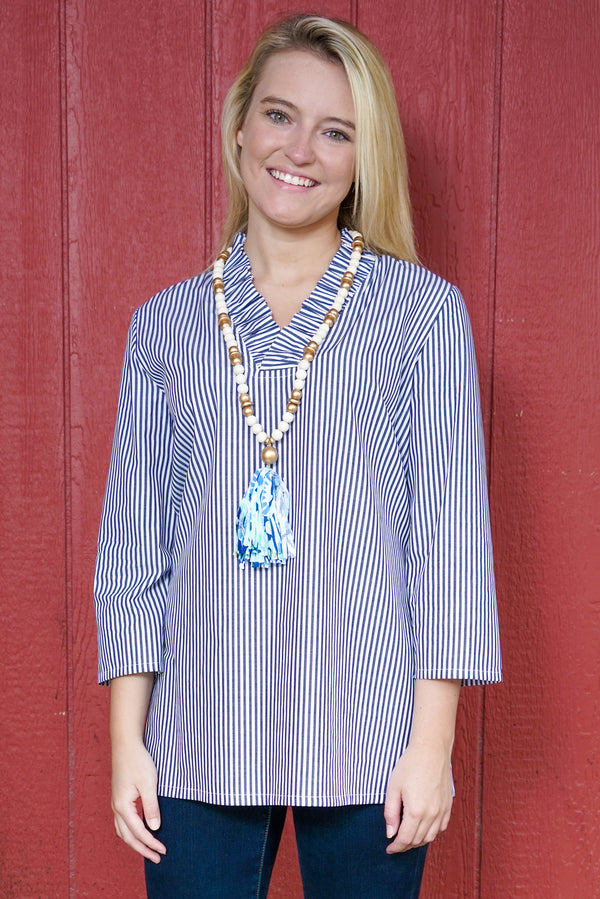Parker Tunic in Navy Stripes