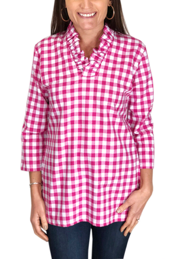 Parker Tunic in Hot Pink Check