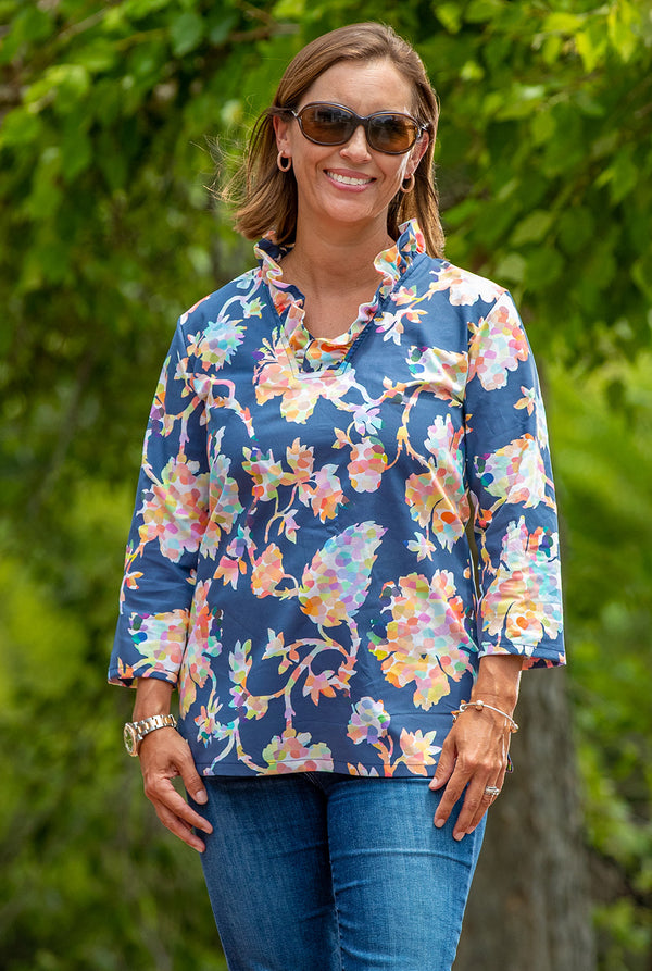 Parker Tunic in Pippa Floral on Navy