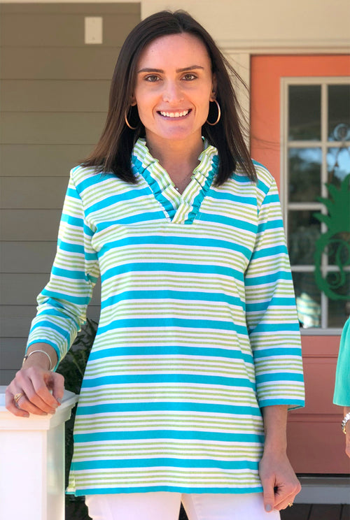 Parker Tunic in Aqua Everyday Stripe