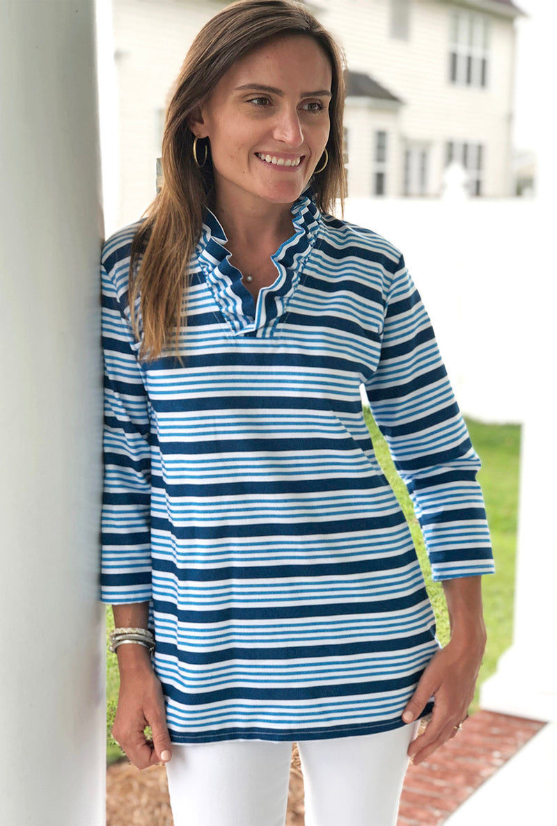 Parker Tunic in Navy Everyday Stripe