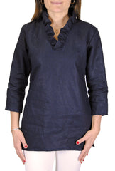 Parker Tunic in Navy Linen