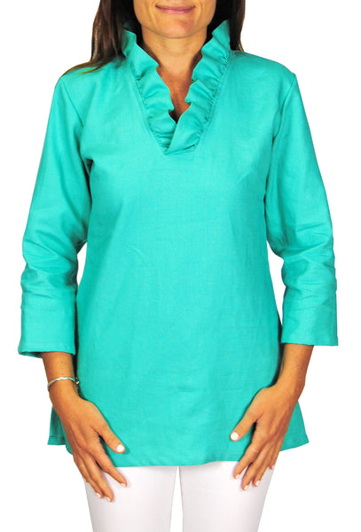Parker Tunic in Turquoise Linen