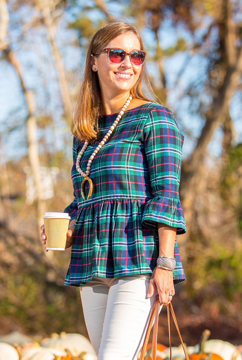 Peplum Top in Flannel Plaid