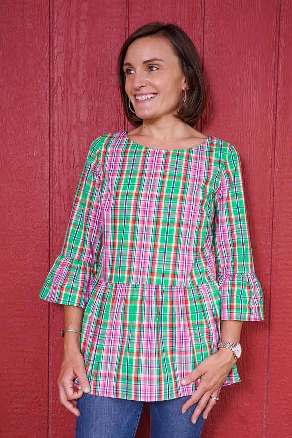 Peplum Top in Preppy Plaid