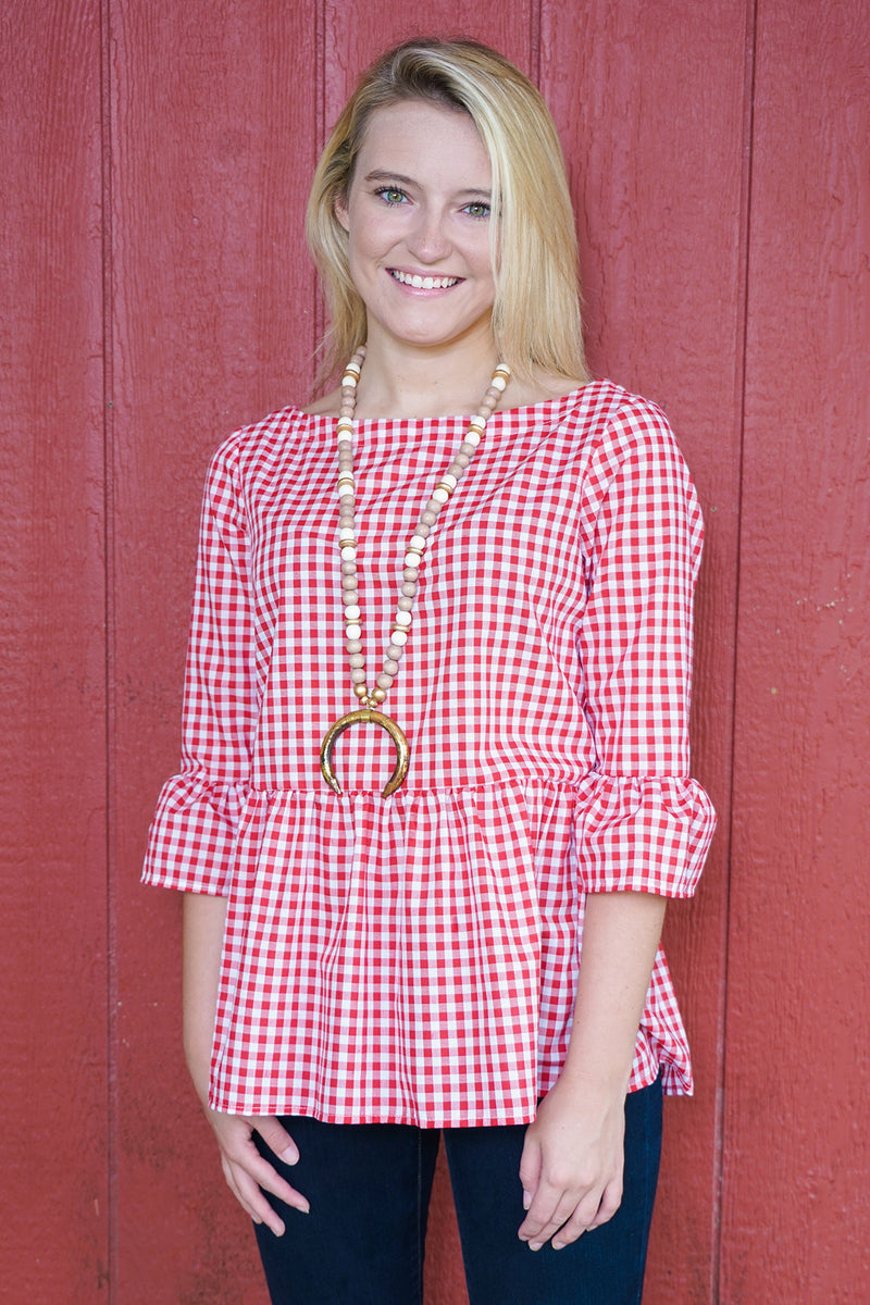 Peplum Top in Red Gingham