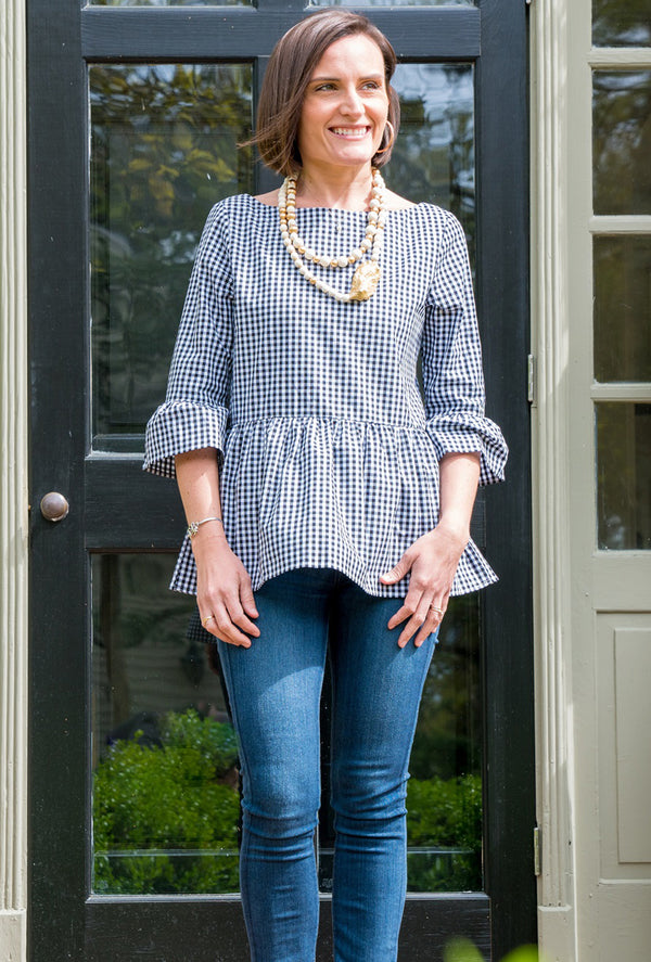 Peplum Top in Black Gingham