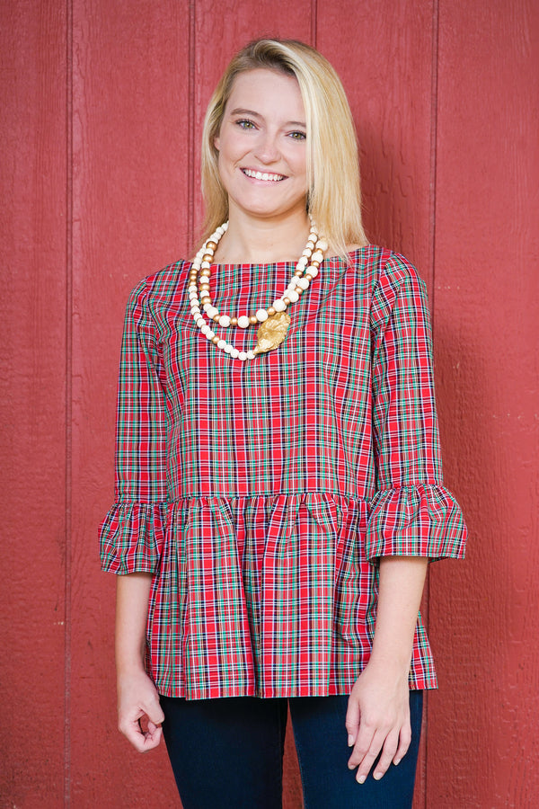 Peplum Top in Holiday Tartan