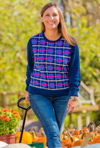 Navy Plaid Sweater