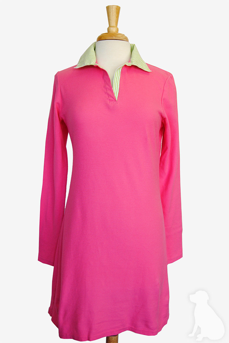 Polo Dress in Hot Pink with Lime Stripe