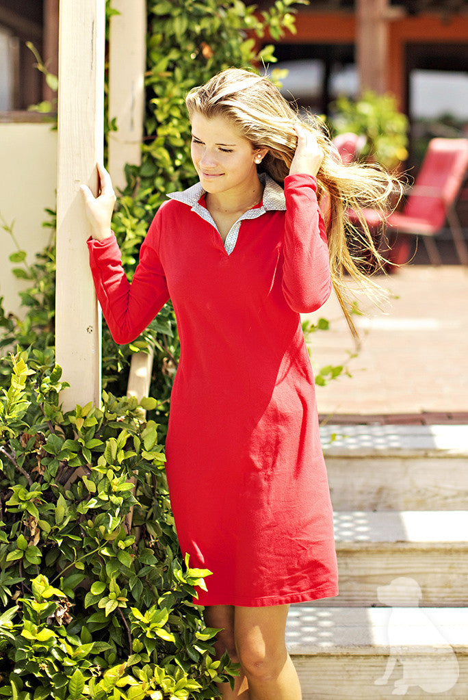 Polo Dress in Red with Khaki Bits