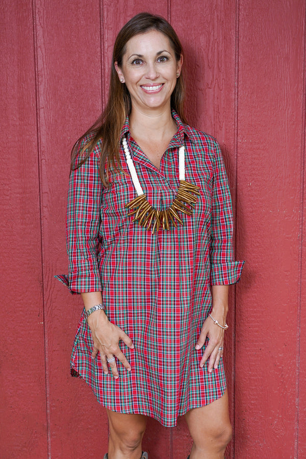 Popover Dress in Holiday Tartan