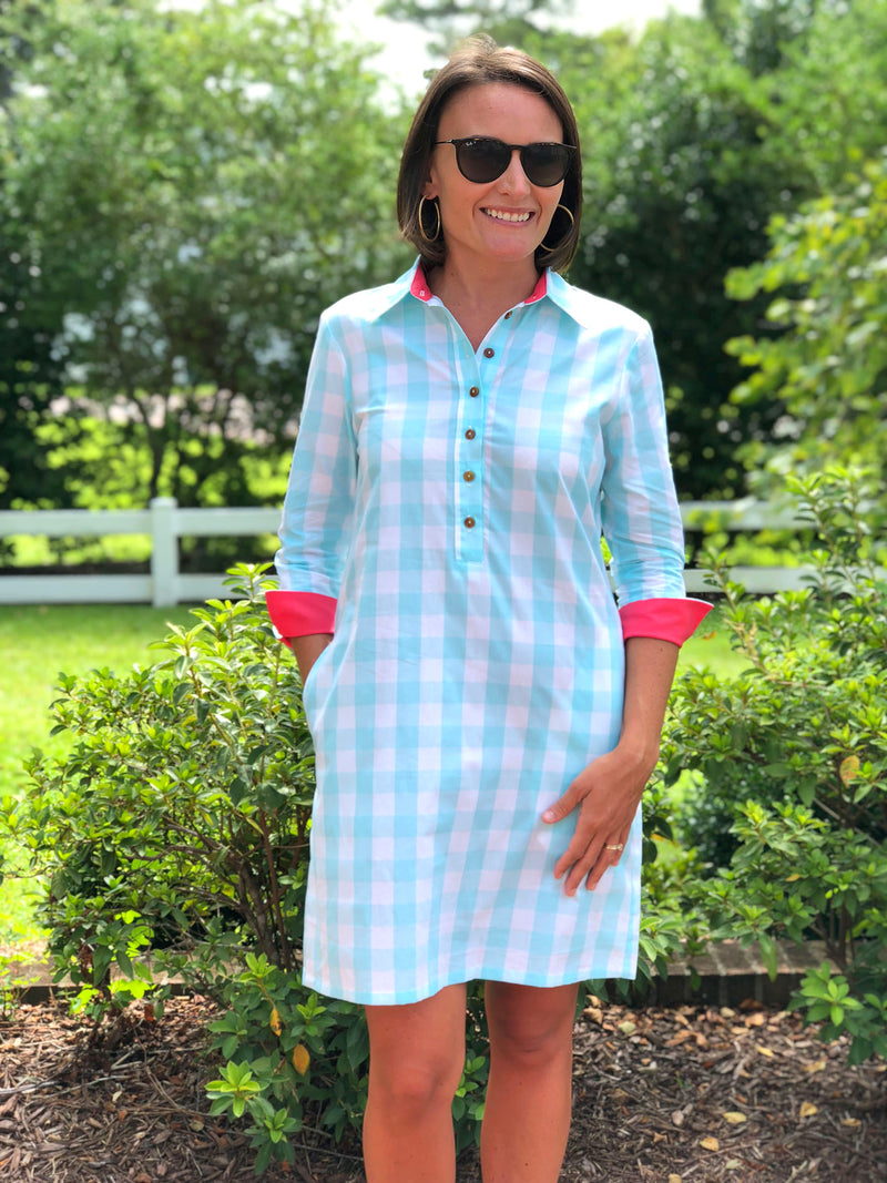 Popover Dress in Mint Checker