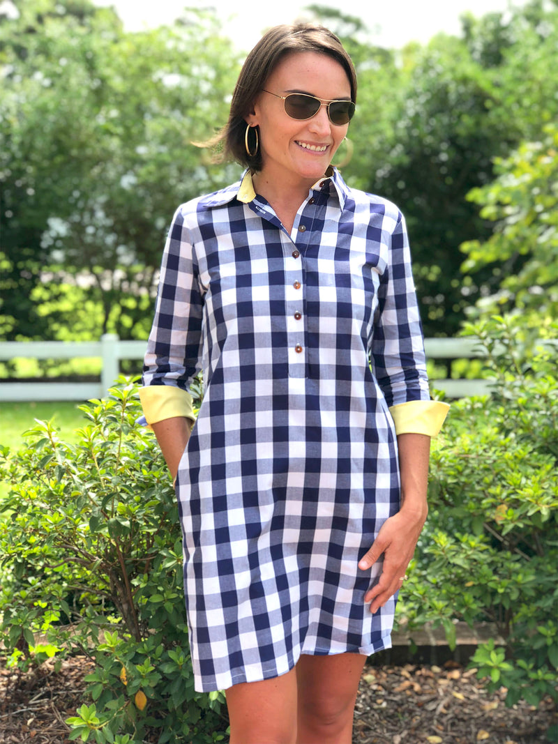 Popover Dress in Navy Checker