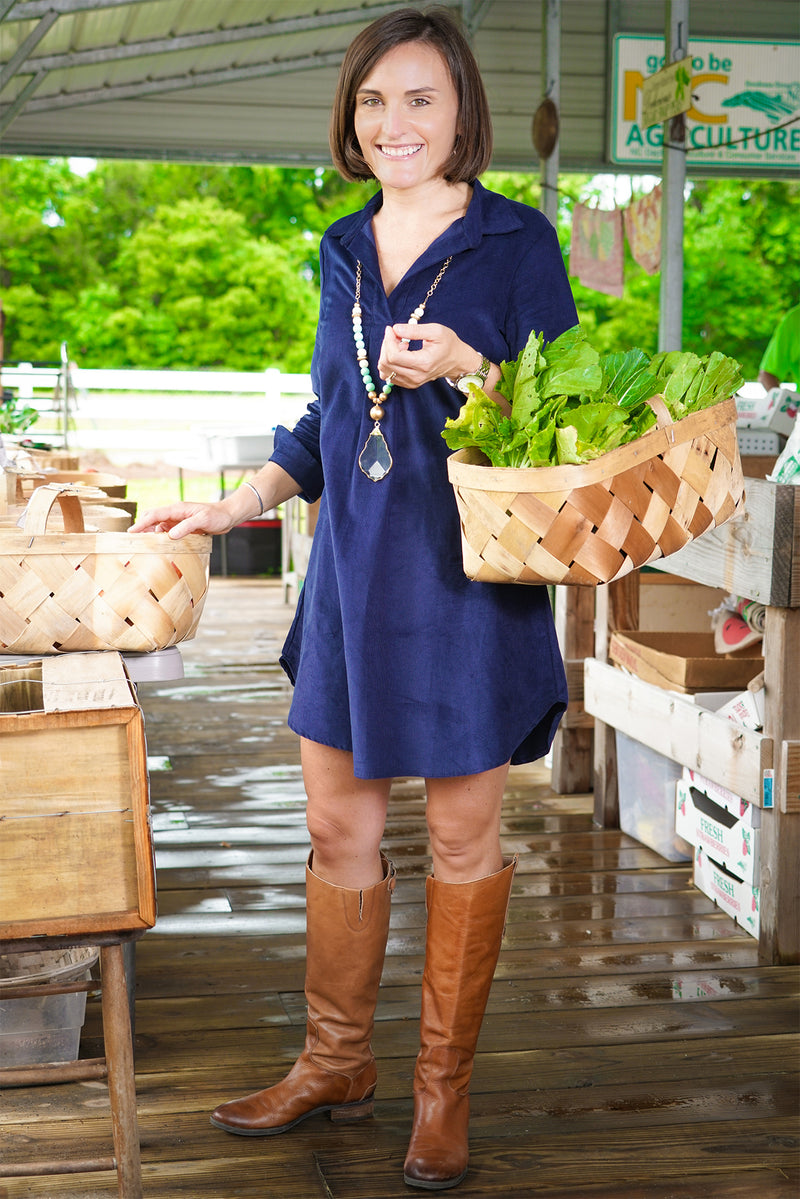Popover Dress in Navy Corduroy
