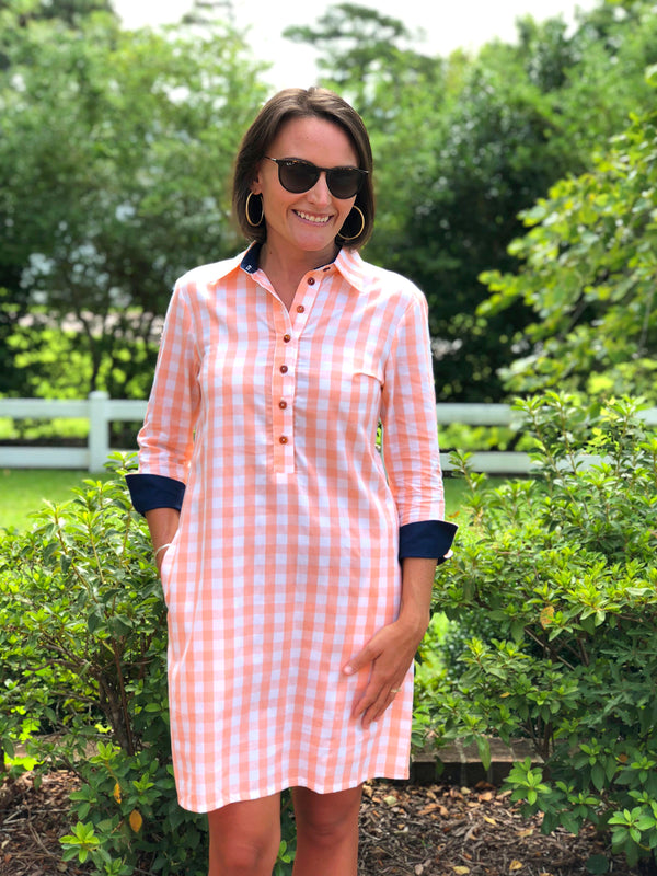 Popover Dress in Peach Checker