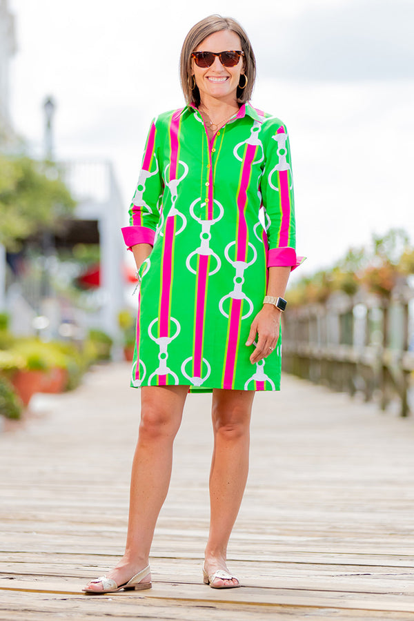 Popover Dress in Pink & Green Bits
