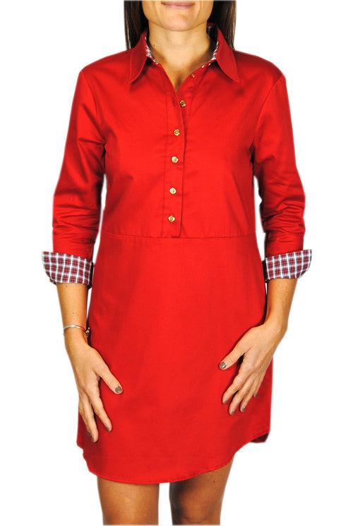 Popover Dress in Red with White Tartan