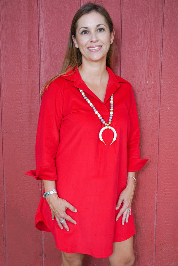 Popover Dress in Red Corduroy