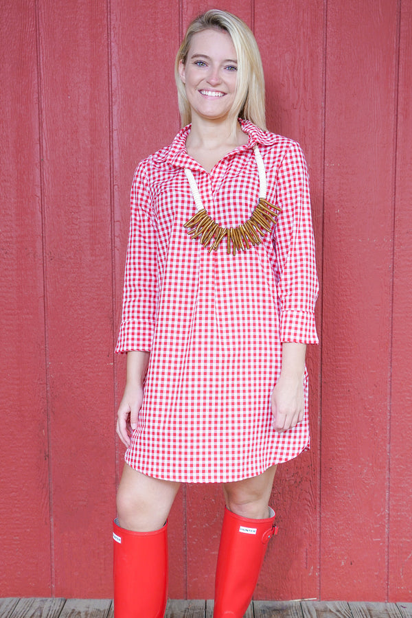 Popover Dress in Red Gingham