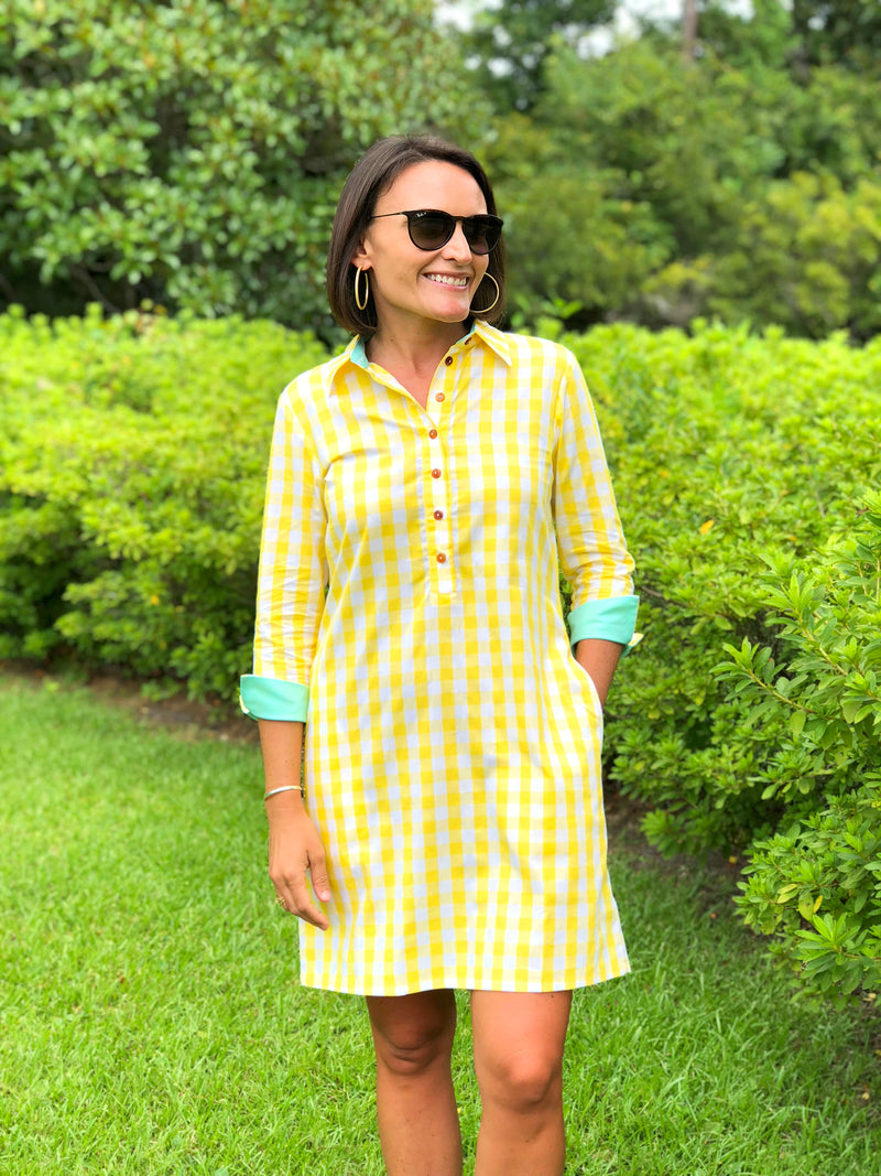 Popover Dress in Yellow Checker