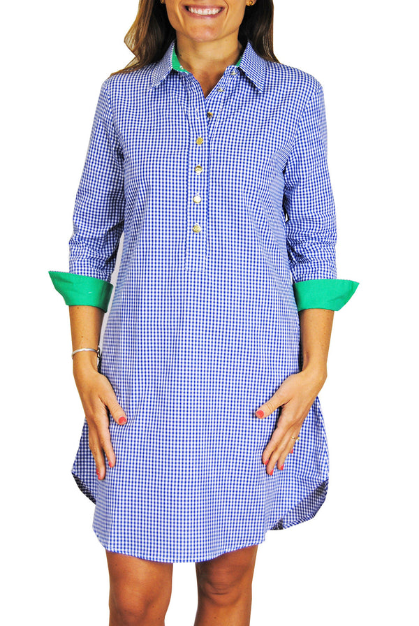 Accent Popover Dress in Blue Gingham