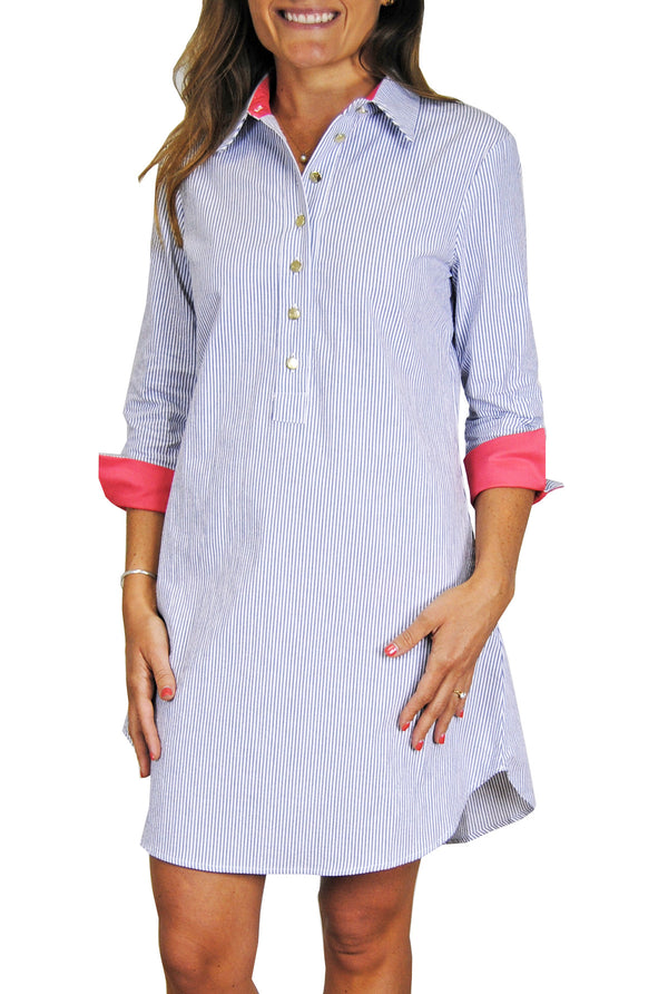 Accent Popover Dress in Blue Seersucker