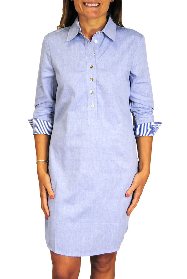 Accent Popover Dress in Chambray