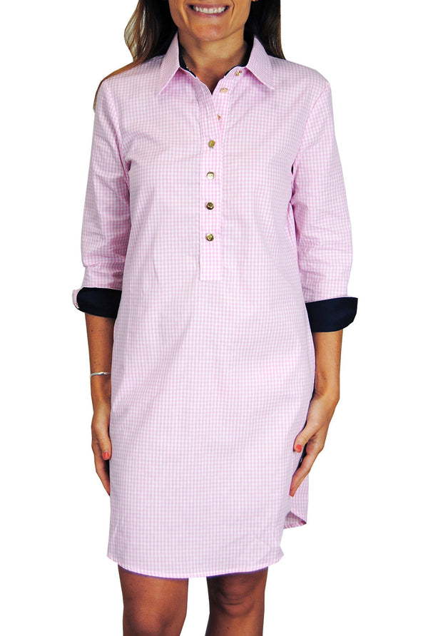 Accent Popover Dress in Pink Gingham