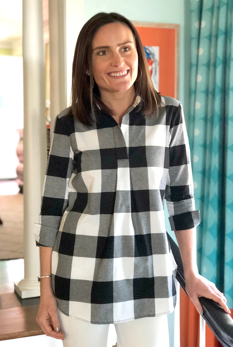 Popover Tunic in Black Buffalo Check
