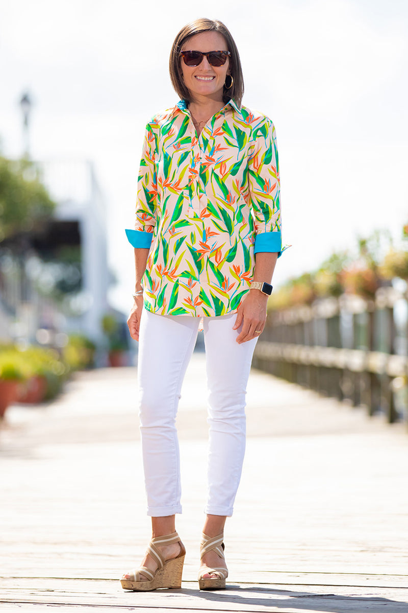 Popover Tunic in Birds of Paradise